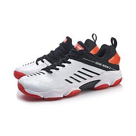 Giày bóng chuyền, cầu lông nam Lining AYZP009-2 màu trắng mẫu mới, đế kếp, chống thấm nước, hàng có sẵn, full box, đủ size