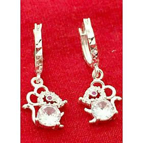 Bông tai bạc Bạc Quang Thản thiết kế kiểu dáng dài treo hình chú chuột gắn đá trắng chất liệu bạc ta không xi mạ - QTBT38