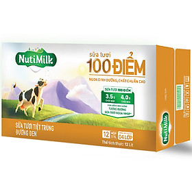 Thùng 12 Hộp Nutimilk Sữa Tươi 100 Điểm - Sữa Tươi Tiệt Trùng Đường Đen Hộp 1 Lít