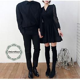 Set áo đầm đôi tình nhân đồ cặp áo sơ mi nam đầm xòe nữ tay dài màu đen phpng cách Hàn Quốc đi biển đi chơi chụp hình cưới cao cấp - Smice House