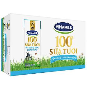Thùng 48 Hộp Sữa Tươi Tiệt Trùng Vinamilk 100% Không Đường (180ml / Hộp)