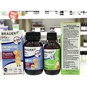 Bộ Đôi Men Vi Sinh Brauer Cho Trẻ Từ 9-36 tháng Và Vitamin Tổng Hợp Brauer Cho Bé Từ 1 – 3 tuổi.