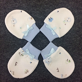 Bao tay cho bé sơ sinh set 2 cặp màu xanh Kuku - KU2308X