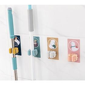 Combo 2 Móc Dán Hoạt Hình Siêu Dính Treo Cây Lau Nhà, Đồ Dùng Phòng Tắm, Nhà Bếp (Miếng Dán Dài, Màu Ngẫu Nhiên)