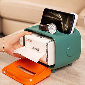 Hộp đựng khăn giấy để bàn có khe đỡ điện thoại ( Màu Ngẫu Nhiên )