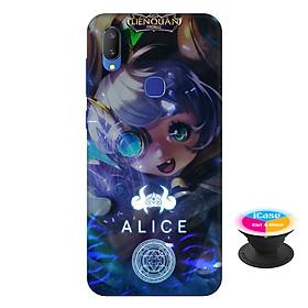 Ốp lưng nhựa dẻo dành cho Vivo V11i in hình Alice - Tặng Popsocket in logo iCase - Hàng Chính Hãng