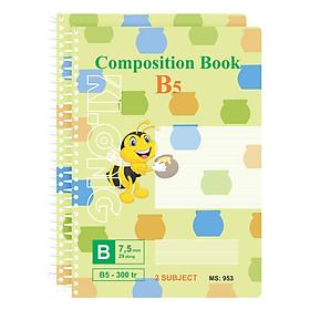 Lốc 2 Sổ Lò Xo Đơn Klong B5 MS 953 (300 Trang)