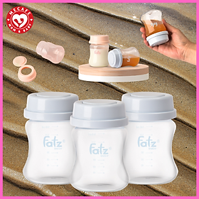 Bộ 3 bình trữ sữa mẹ cổ rông 140ml vừa với máy hút sữa RESONANCE Fatzbaby tặng 2 ziper 12cm