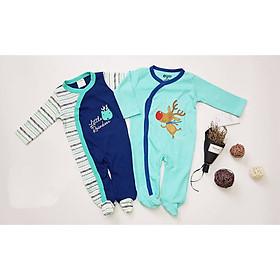 Set 2 body dài liền tất cho bé, quần áo thu đông cho bé sơ sinh