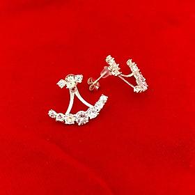 Bông tai nữ Bạc Quang Thản, khuyên tai bạc đính đá cao cấp kiểu nụ chốt đeo sát tai , phong cách cá tính - QTBT83