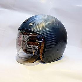 Nón bảo hiểm 3/4 kính âm Royal M139 Đen vân carbon cao cấp Lót tháo rời, che hết mặt