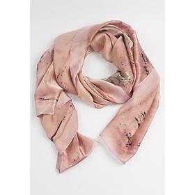 Khăn Choàng Cổ Lụa Hoa Hồng Lớn Màu Hồng Tím Nhạt - Silk - 180x90cm - Mã KS029