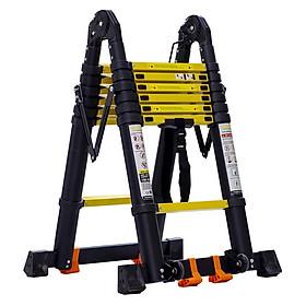 Thang nhôm rút đôi Sumika SKS440D (2.2M+2.2M) - Sơn tĩnh điện, chống trầy xước, khóa chốt cao cấp, nhiều đế cao su chống trượt, bậc thang diện tích rộng, thanh giằng giữa 2 bên thang