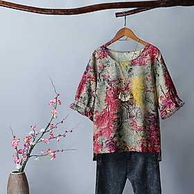 Women Vintage Plus Size Loose Blouse Half Sleeved Printed Retro Holiday T-Shirts Casual Tops S-5XL