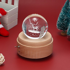 Vintage 3D Music Box Crystal Ball Wooden Luminous Music Case with Projection LED Light  BT speaker Children Toy Decor