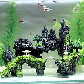 Mô hình hòn non bộ núi đá hang động cây cỏ 2 thiết bị phụ kiện bể cá trang trí nhà cửa lũa bể cá thủy sinh