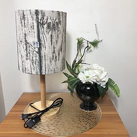 Đèn ngủ để bàn DB-E10 VÂN GỖ, đèn bàn ngủ chóa vải bố linen decor nhà cửa, chân gỗ phong cách, công tắc bật tắt, tặng kèm bóng đèn