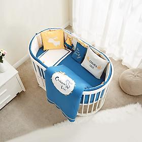 Giường Cũi Đa Năng Hình Oval Cho Bé Từ 0-5 Tuổi - Bao Gồm Cũi, Nệm, Quây, Có Màn hoặc Không