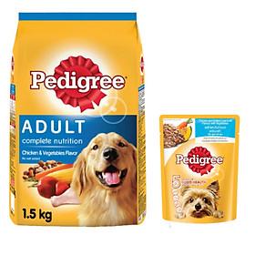 Combo thức ăn cho chó Pedigree 1,5kg vị gà và các loại rau củ + sốt chó lớn Pedigree 80g vị gà,gan và rau