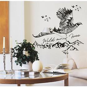 Decal dán tường chim trĩ cùng non sông núi đồi cây lá trang trí quán đẹp