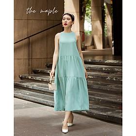 Đầm maxi lụa dài The Maple Freesize  Xanh