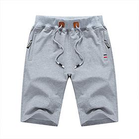 Men Mid-waist Straight Leg Middle Length Running Shorts