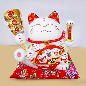 Mèo thần tài vẫy tay cầm xiên tiền vàng