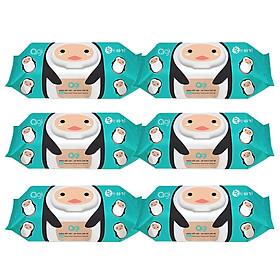Combo 6 Gói Khăn Ướt AGI Không Hương Chim cánh cụt (100 tờ/6 gói)