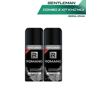 Combo 2 Xịt toàn thân Romano ngăn mồ hôi và mùi cơ thể 150ml x 2 Gentleman