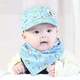 Set mũ bóng chày tặng kèm khăn yếm tam giác cho bé gái bé trai 0-12 tháng