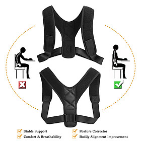 Posture Corrector with Shoulder Pads Men Women Adjustable Back Trainer Shoulder Straps Back Brace Support-4