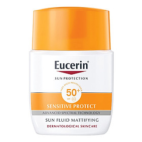 Kem Chống Nắng Không Gây Nhờn Rít Cho Da Thường Và Da Hỗn Hợp Eucerin Sun Fluid Mattifying Face Spf50+ (50Ml) - tặng nước tẩy trang Dermato Clean (125ml)