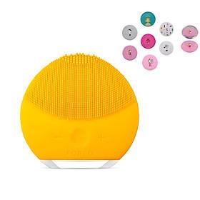 Máy rửa mặt massage mini 2 công nghệ sóng âm làm sạch da hiệu quả Tặng kèm Gương trang điểm mini bỏ túi (Màu ngẫu Nhiên)