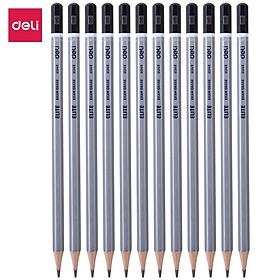 Bút chì 2B cao cấp Deli, màu bạc 12 cây/hộp CU24910
