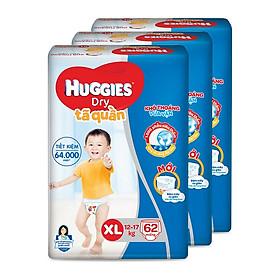 Combo 3 Tã quần HUGGIES DRY PANTS SUPER JUMBO XL62 (11 - 16kg)  - Gói 62 miếng