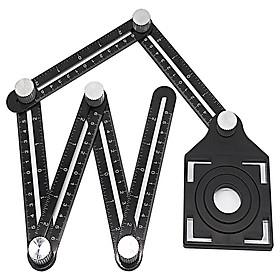 Black Multifunction Aluminum Alloy Six Folding Ruler Multi Angle Measuring Tool