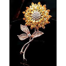 Cài áo thời trang đính đá hoa vàng (GC32)