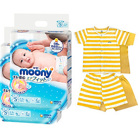 Bộ 2 tã dán cao cấp Moony S84 [Tặng bộ quần áo Nous 9-12m]