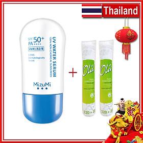 Combo Serum Chống Nắng Gốc Nước SPF50+ PA4+ 40g Mizumi Serum Thái Lan - Tặng Bông Tẩy Trang Ola 150 Miếng Ba Lan