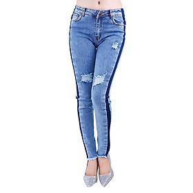 Quần Jeans Nữ Phối Màu Rách Cao Cấp JNR005