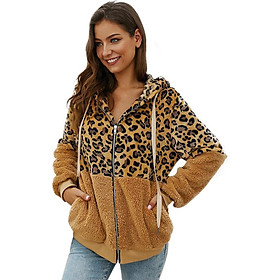 Casual Leopard Women Zippers Jacket Winter Loose Fashion Hooded Cap Coat