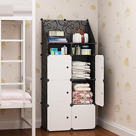 Tủ đầu giường lắp ghép( 6 ô lớn - 2 ô nhỏ - 1 ô xéo lớn) màu đen, cửa trắng