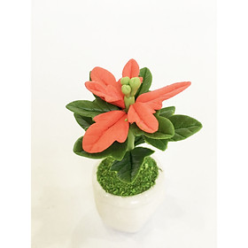 Chậu hoa đất sét mini - Cây hoa trạng nguyên lá đỏ may mắn - Quà tặng trang trí handmade