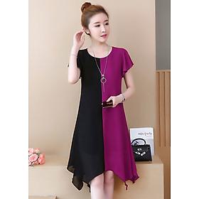 Đầm suông trung niên phối màu D3027D