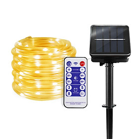 Solar LED Rope Lights Christmas Decorative Light 32.8ft 100 LEDs Remote Control 8 Light Modes Timing Function Dimmable