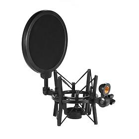 Univerdal Plastic Condenser Microphone Mic Shock Mount Holder Bracket Anti-vibration with Pop Filter for On-line