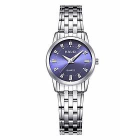 Đồng hồ Nữ Halei cao cấp - HL502 Dây trắng mặt xanh
