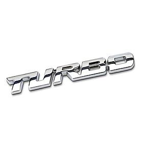 Decal tem chữ Turbo inox dán trang trí thân xe hoặc đuôi ô tô, xe hơi cao cấp