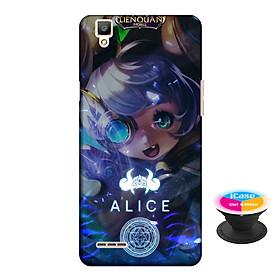 Ốp lưng nhựa dẻo dành cho Oppo F1 in hình Alice - Tặng Popsocket in logo iCase - Hàng Chính Hãng