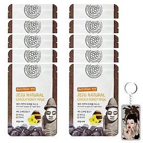 Bộ 10 miếng mặt nạ mật ong Jeju Canoda Honey Mask Hàn Quốc 10x20g +Móc khóa